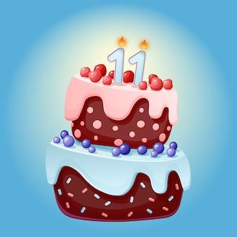Torta festiva di compleanno di 11 anni del fumetto sveglio con la candela numero undici. biscotto al cioccolato con frutti di bosco, ciliegie e mirtilli.