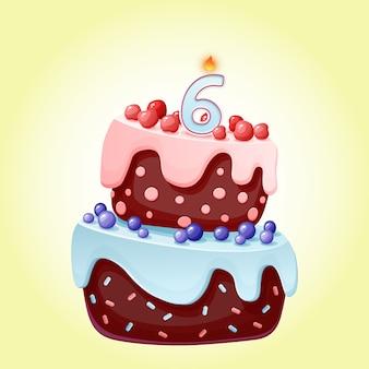 Torta festiva di compleanno di 6 anni del fumetto sveglio con la candela numero sei. biscotto al cioccolato con frutti di bosco, ciliegie e mirtilli.