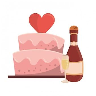 Torta nuziale con bottiglia di chamapgne e cartoon tazza