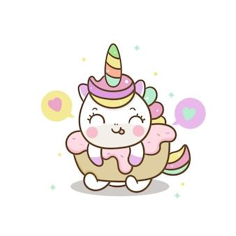 Torta squisita unicorno carino