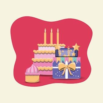 Torte e muffin icona di compleanno su sfondo rosa e bianco