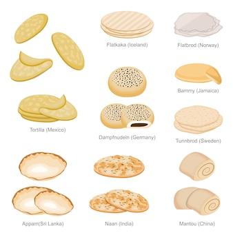 Tortilla naan dampfnudeln e famous unique bread of countries set