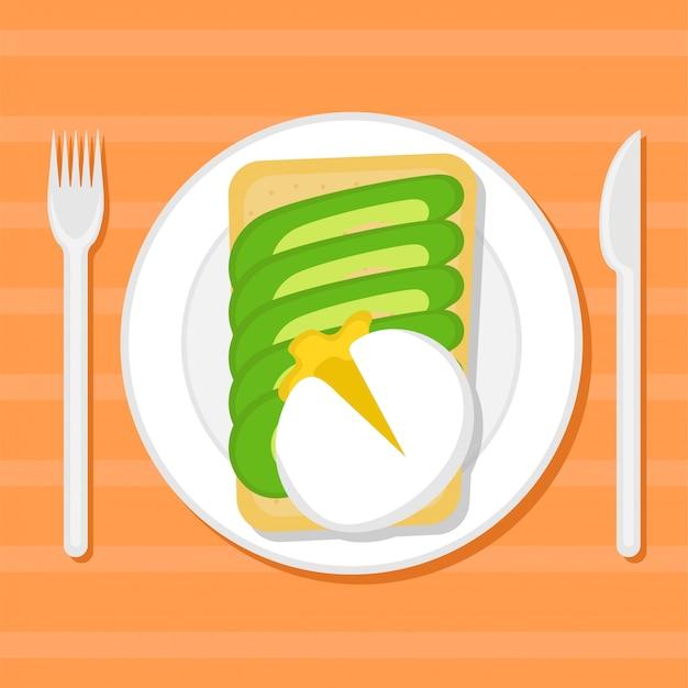 Tostare con fette di avocado e uovo in camicia su un piatto. illustrazione piatta. vista dall'alto