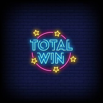 Total win neon signs style text