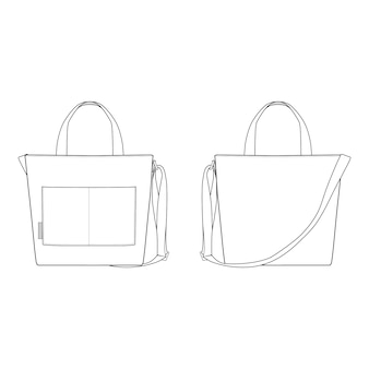 Tote bag fashion flat templates