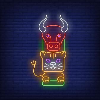 Totem con insegna al neon di bufalo e tigre