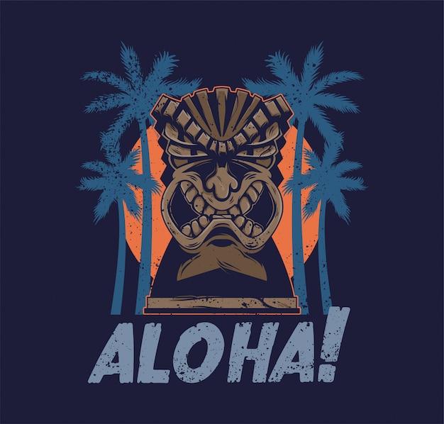 Totem della maschera di tiki arrabbiato tribale delle hawaii vintage idolo aloha