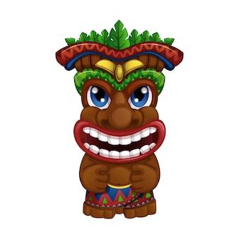 Totem tiki hawaiano sorridente.