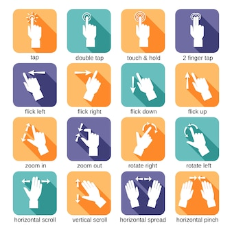 Touch interface gestures icons