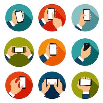 Touch screen mano gesti icone piatte di utilizzo di interfaccia mobile isolato illustrazione vettoriale