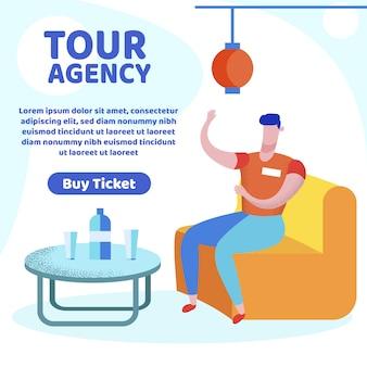 Tour agency banner, agente di viaggio racconta di trip