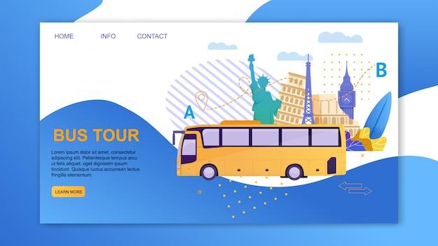 Tour in autobus intorno a diversi paesi e città cartoon banner