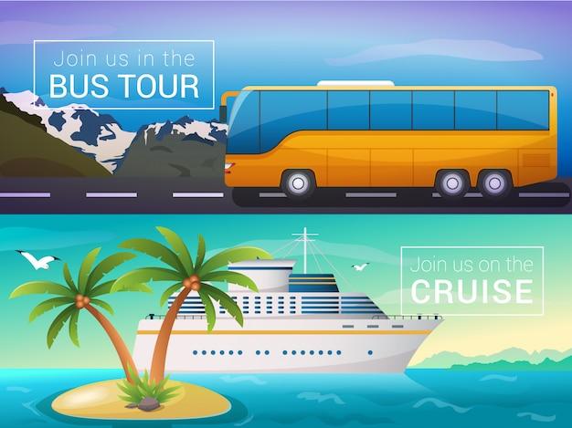 Tour in autobus per le montagne delle alpi, nave da crociera oceanica nelle isole