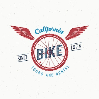 Tour in bicicletta retrò e noleggio etichetta o logo design