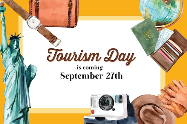 Tourism day, design del telaio con the statue of liberty, vestiti, glob