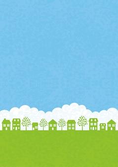 Townscape senza soluzione di continuità con il cielo blu