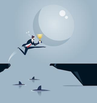Tra gli squali illustrazione del concetto di business.