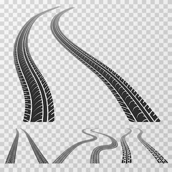 Tracce curvate di pneumatici che si estendono fino all'orizzonte