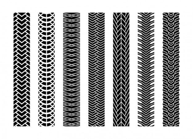 Tracce di pneumatici neri set di ruote per auto o di trasporto