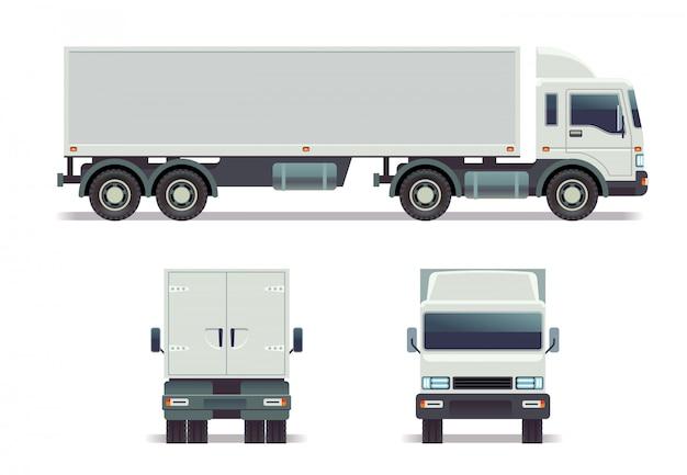 Traccia del carico in tre punti di vista isolati su bianco