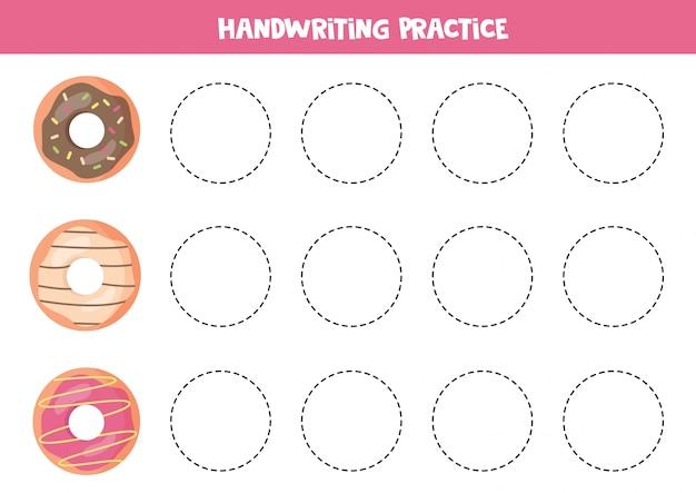 Traccia di ciambelle di cartone animato. pratica della scrittura a mano per bambini.