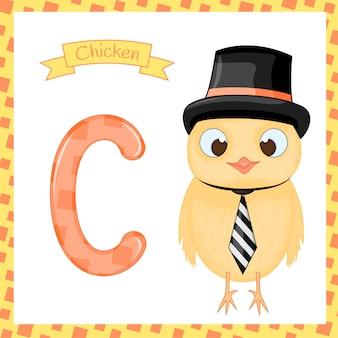 Traccia di lettera alfabeto c di zoo carino di pollo