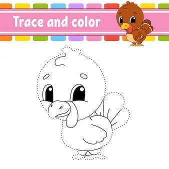Traccia e colora. uccello di tacchino. pagina da colorare per bambini. pratica della scrittura a mano.