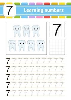 Traccia e scrivi. appoggiando il numero sette