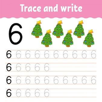 Traccia e scrivi. pratica della scrittura a mano. imparare i numeri per i bambini. foglio di lavoro per lo sviluppo dell'istruzione. pagina delle attività.