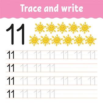 Traccia e scrivi. pratica della scrittura a mano. imparare i numeri per i bambini. foglio di lavoro per lo sviluppo dell'istruzione.