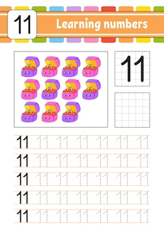 Traccia e scrivi. pratica della scrittura a mano. imparare i numeri per i bambini.