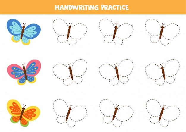 Traccia farfalle carine in ogni riga. foglio di lavoro educativo per bambini in età prescolare.