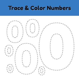 Traccia il numero di riga per i bambini dell'asilo e della scuola materna. scrivi e colora un null.