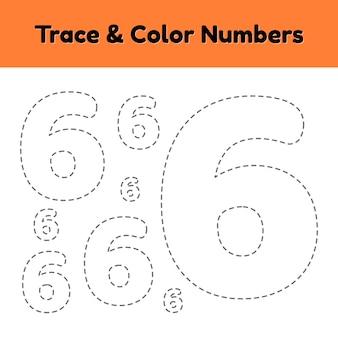 Traccia il numero di riga per i bambini dell'asilo e della scuola materna. scrivi e colora un sei.