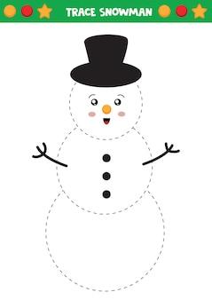 Traccia il pupazzo di neve pratica della scrittura a mano per bambini.