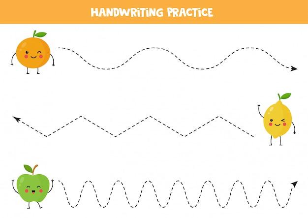 Traccia le linee con la carina mela kawaii, l'arancia e il limone.