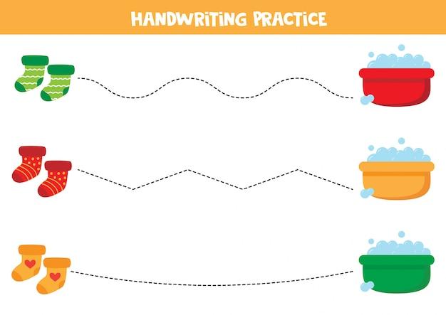 Traccia le linee tra calze colorate e bacini d'acqua.
