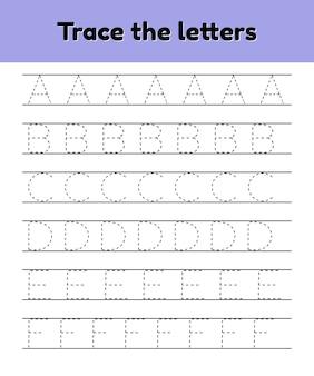 Traccia lettere per bambini dell'asilo e della scuola materna. alfabeto.