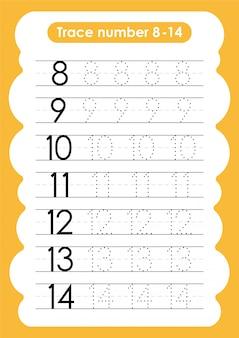 Traccia numero da 8 a 14 - per bambini dell'asilo e della scuola materna