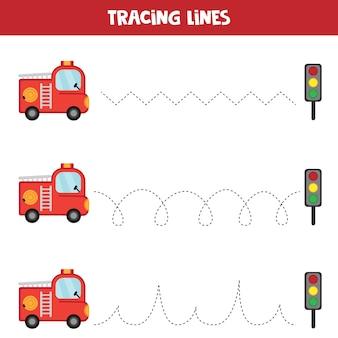 Tracciamento delle linee con camion dei pompieri. foglio di lavoro educativo per bambini. pratica della scrittura a mano.