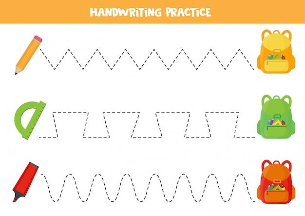 Tracciamento di linee per bambini. praticare abilità di scrittura per bambini in età prescolare.