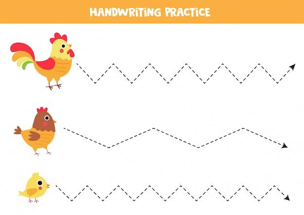 Tracciamento di linee per bambini. uccelli da fattoria simpatico cartone animato.