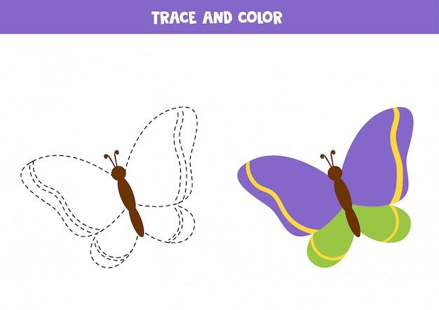 Tracciare e colorare libro con farfalla colorata.