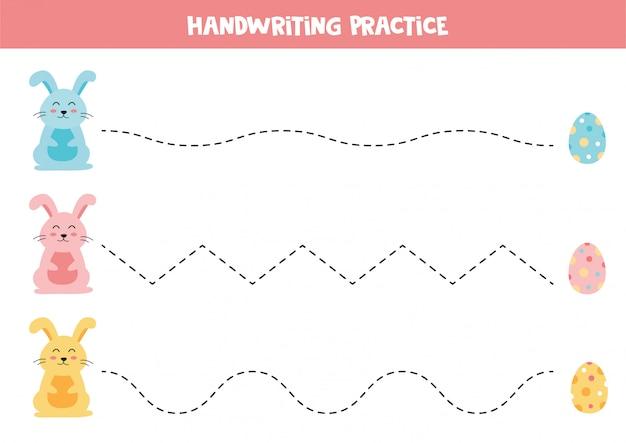 Tracciare le linee con il coniglietto di pasqua e le uova. foglio di lavoro educativo per bambini.