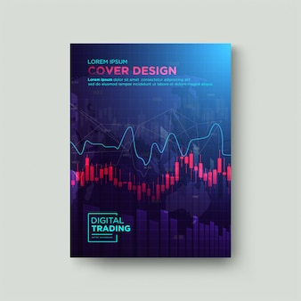 Trading con copertina di sfondo. con illustrazioni di grafici a candela rossa e grafici della frequenza cardiaca su di esso