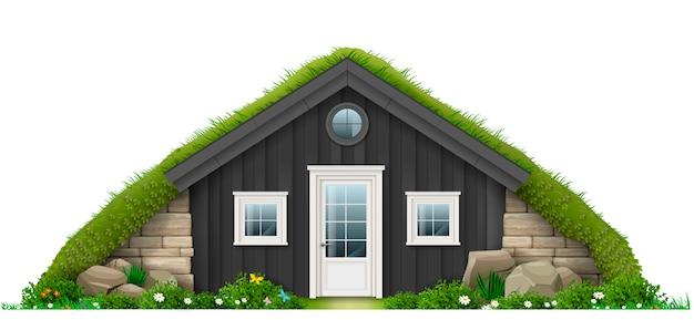 Tradizionale casa di erba erbosa islandese