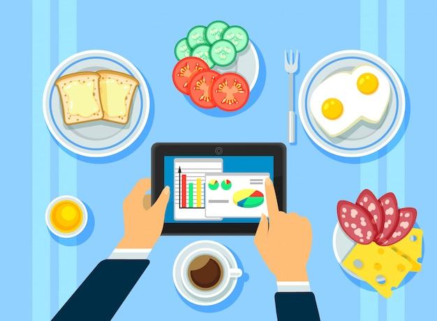 Tradizionale colazione aziendale concetto