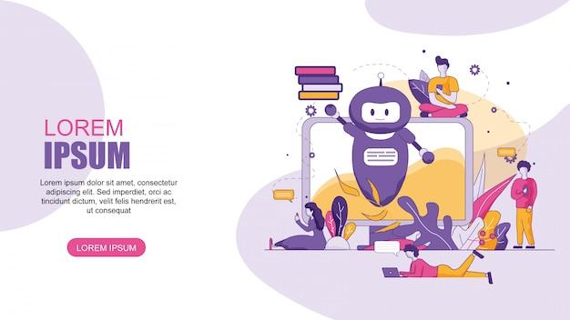 Traduttore online orizzontale banner piatto chatbot.