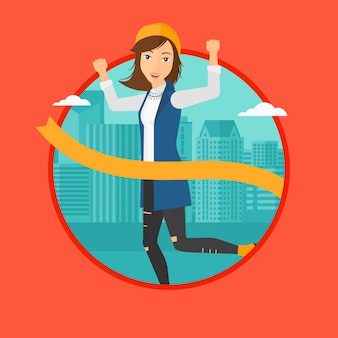 Traguardo di attraversamento donna d'affari.