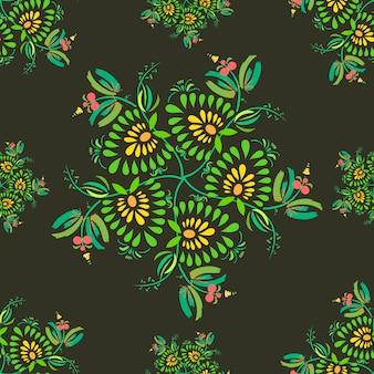 Trama con sfondo di fiori e foglie